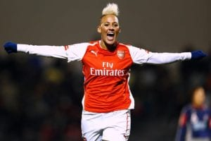 Lianne Sanderson Professional Soccer Player Excited on the Field